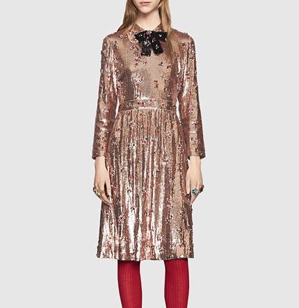 sequin with crystal embroidered dress