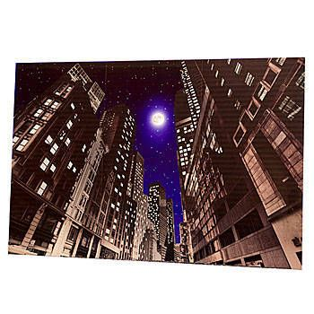 Our Empire State City Background features a fantastic view of the moon in the city from a sidewalk.