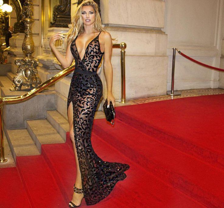 Katya Sheer Sequin evening gown in black | Black Dresses ...