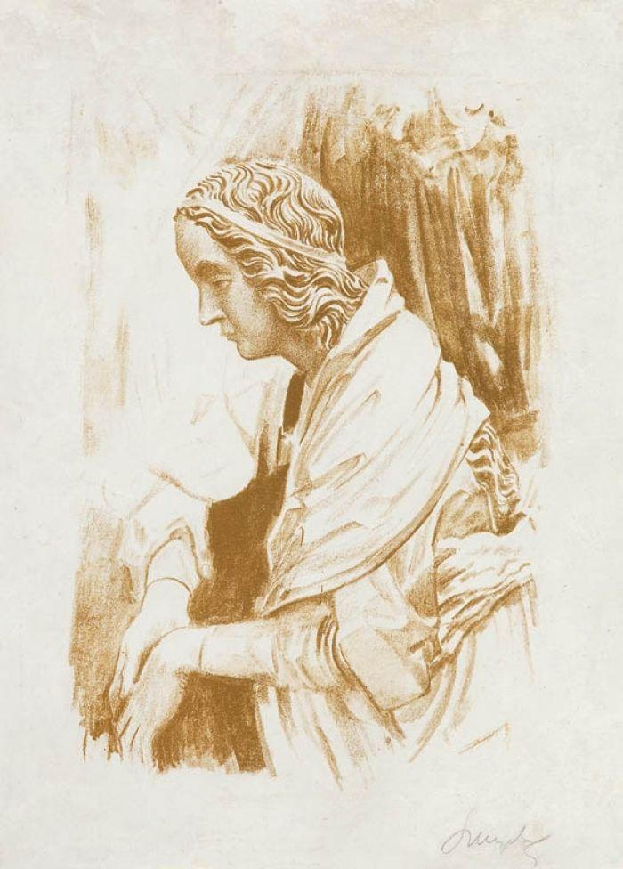 Leon Wyczółkowski - Figura Marii z ołtarza Wita Stwosza w kościele Mariackim w Krakowie, 1926 - 1927 r.