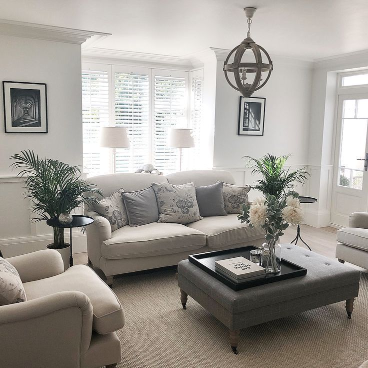 Neutral Traditional Living Room Design With Leather Ottoman And Chandelier Traditional Traditional Design Living Room Rugs In Living Room Living Room Remodel