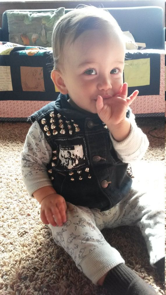 BABY STUD VEST Anarchy Genderqueer Punk Rock Unisex by ItsyPunx