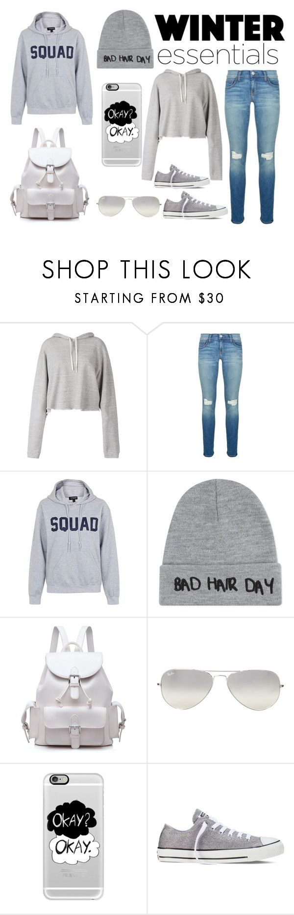 """""""Winter Essentials"""" by rxvxkx ❤ liked on Polyvore featuring Faith Connexion, Rebecca Minkoff, Topshop, Local Heroes, Ray-Ban, Casetify, Converse, Winter, winterstyle and wintertrend"""