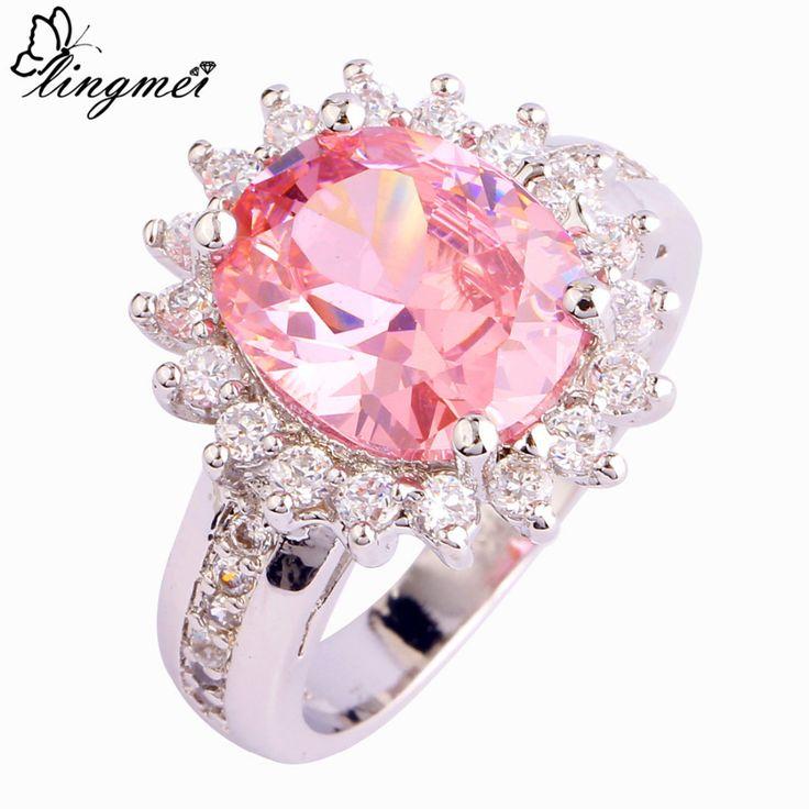 Lingmei sweetie roze & wit aaa cz zilveren ring maat 6 7 8 9 10 Vrouwen Bridal Engagement Sieraden Liefde Stijl Groothandel