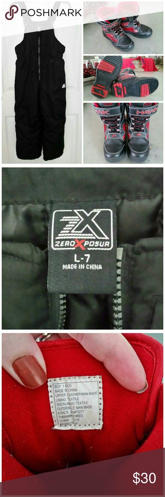 Kids winter bundle Zero Xposur snow bibs and Tony Hawk boots ZeroXposur Shoes Boots