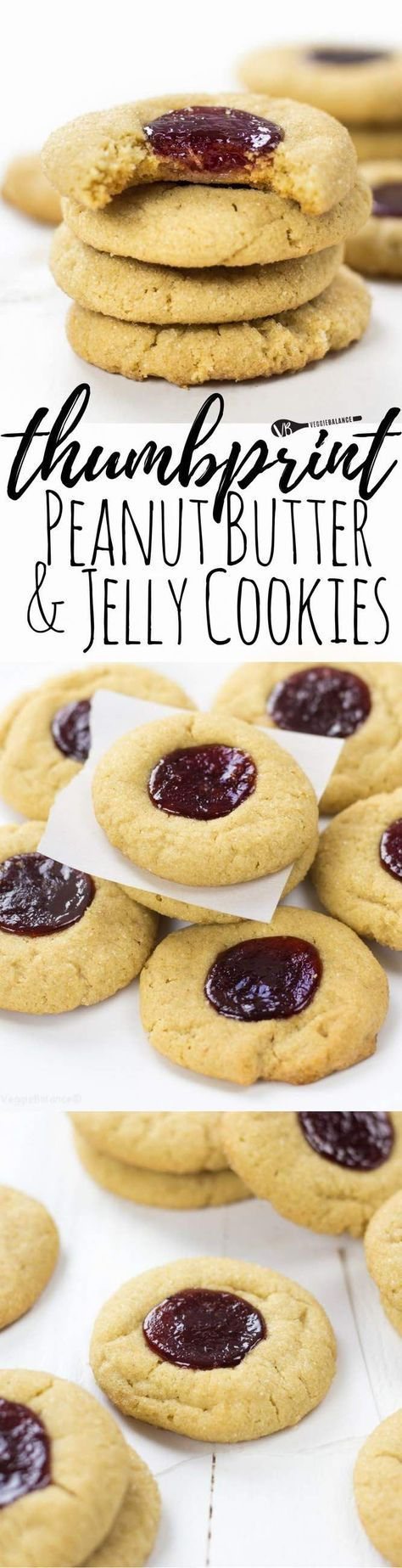 Peanut Butter and Jelly Thumbprint Cookies - the sweet, sweet taste of childhood in cookie form. A perfect peanut butter cookie base chocked full of flavor with a raspberry jelly thumbprint. You would never guess they are, in fact, gluten free. (Gluten-Free, Dairy-Free & Vegan friendly)