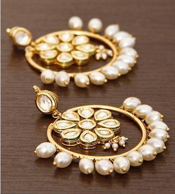 Beautiful Kundan & Pearl Studded Bali #Earrings By Anjali Jain.