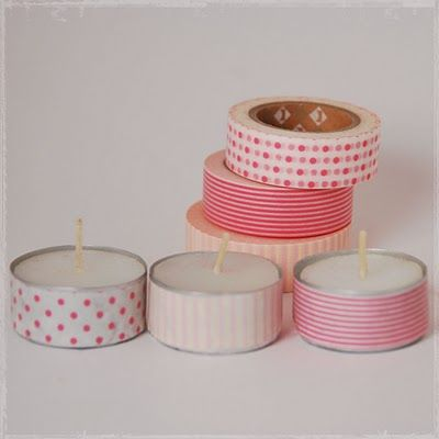 Cute DIY tealights - candle + washi tape.  can make different colors for every party theme!