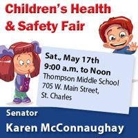 Sen. McConnaughay welcomes children and their families to a health and safety fair on May 17th!