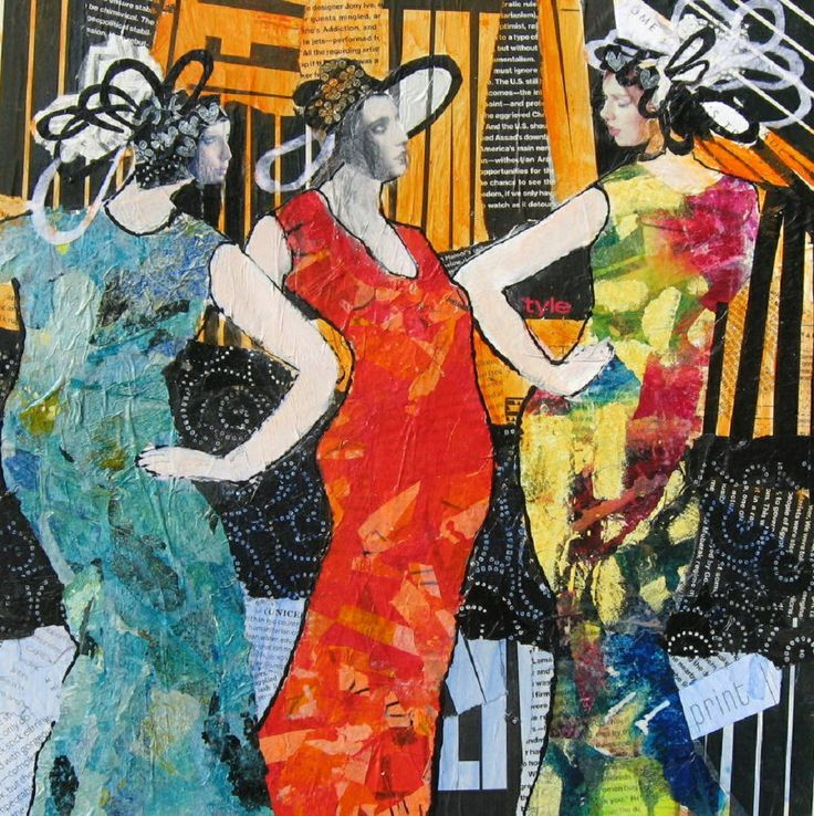 Girl Party Acrylic and collage Image  20 X 20 Matted  28 X 28 $280.00
