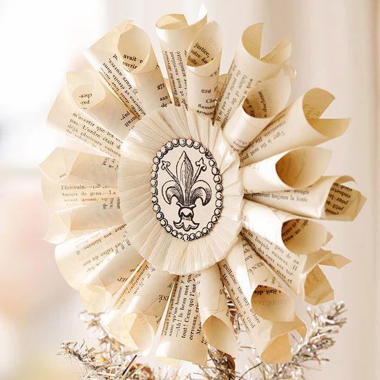 vintage ornament buchseiten papier stern weihnachtsbaum