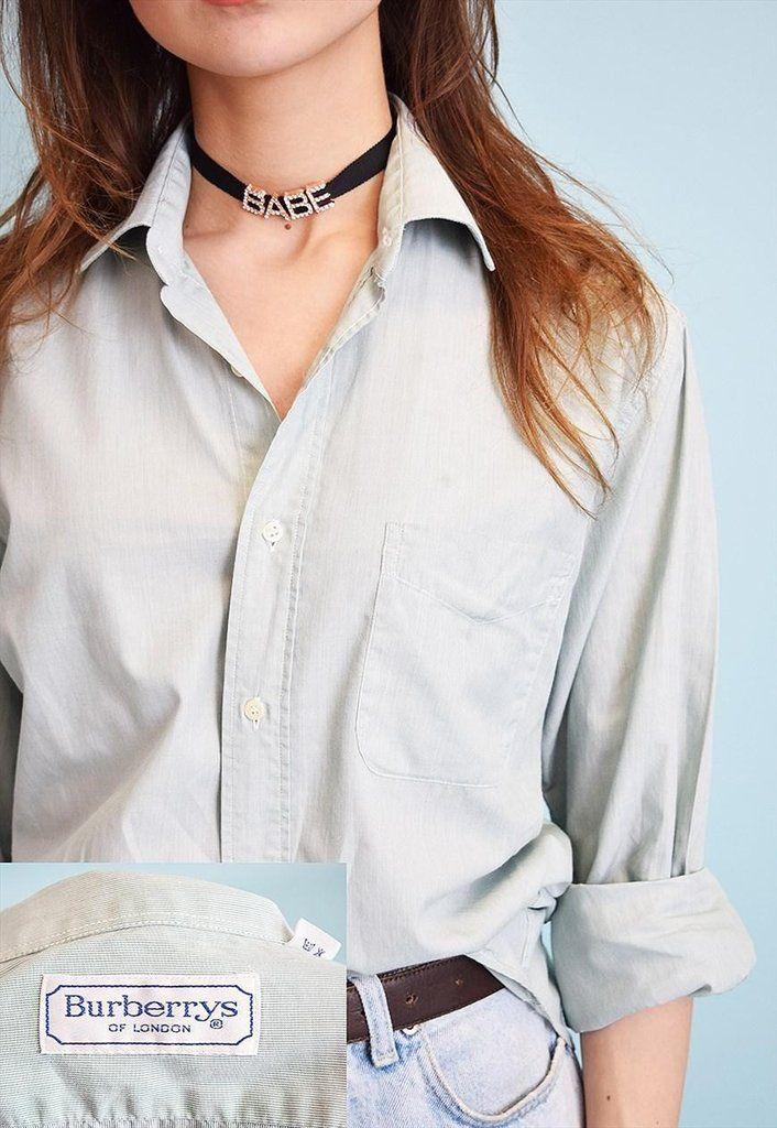 90's retro striped Boyfriend's oversized designer shirt - Vintaholic