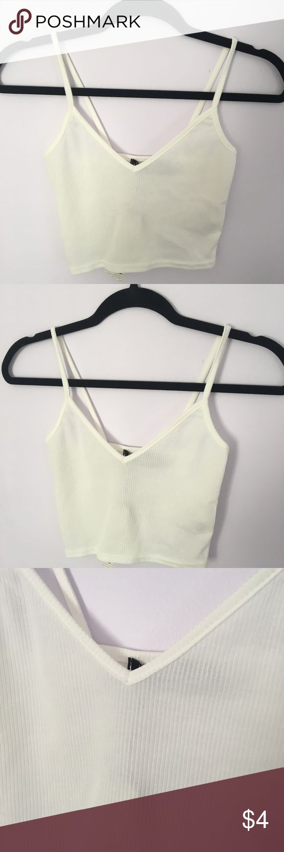 Ribbed cropped tank This is a ribbed cropped white tank! It is a lil see through but u can prob style it with a cute bra Leyte underneath! Never worn! Boohoo Tops Tank Tops