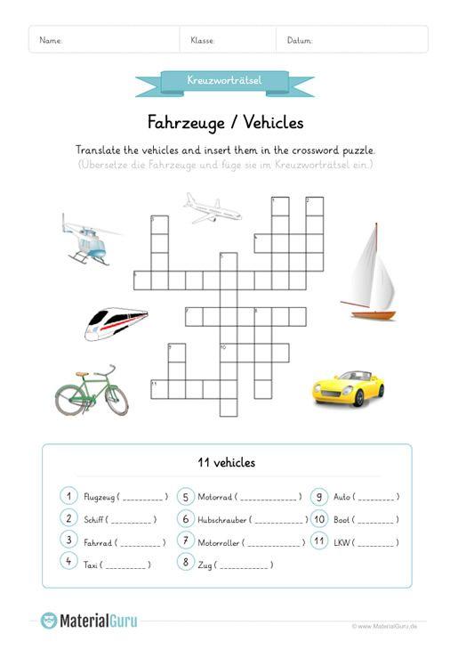 neu ein kostenloses englisch arbeitsblatt zum thema fahrzeuge vehicles f r die grundschule. Black Bedroom Furniture Sets. Home Design Ideas