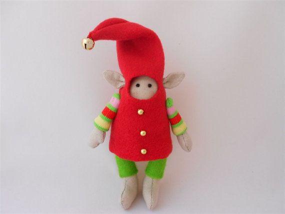 Christmas Tilda Elf Doll Tilda  Fabric Doll by PinkOliveGifts