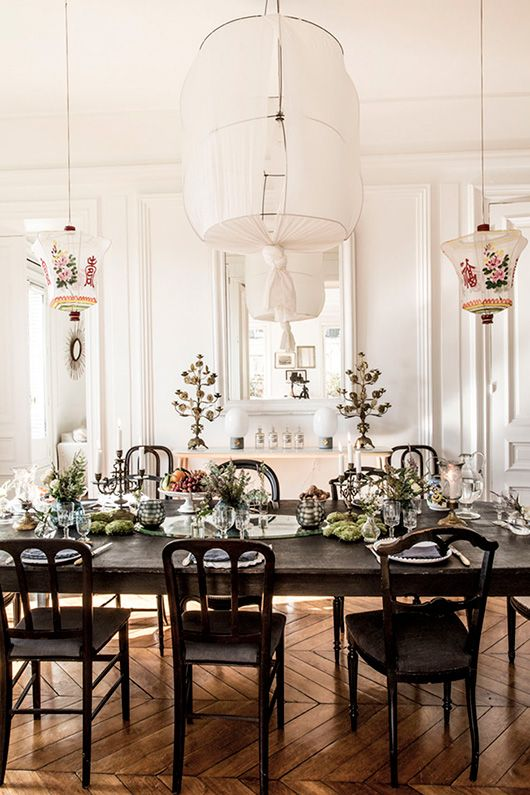 chinese lanterns over vintage dining table via milk decoration. / sfgirlbybay