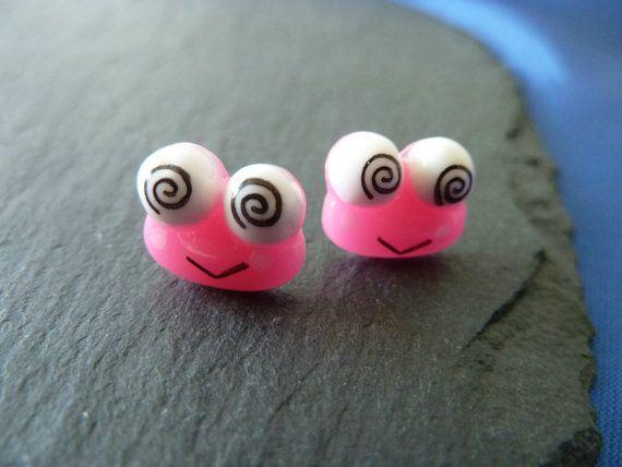 Handmade flower earrings pink frog earring by KelwayCraftsYorkshir, £0.99