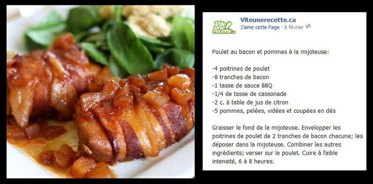Poulet au bacon et pomme à la mijoteuse