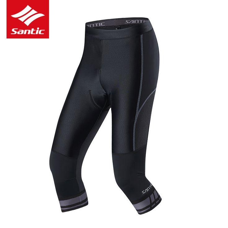 SANTIC 3/4 Cycling Shorts Men Spring Summer Breathable Bowl-Shaped Groove Cushion Cycle Sportswear Tights Bike Bicycle Shorts