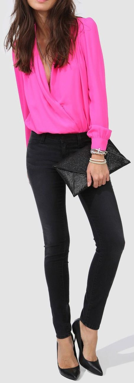 Neon Pink Fold Blouse