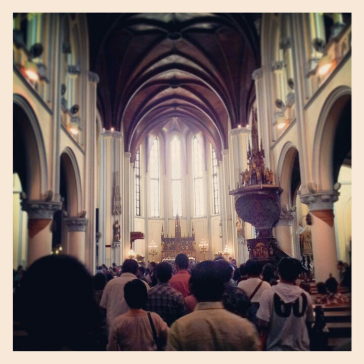 Shadows falling  we stand alone. Out on the street anybody you meet got a heartache of their own #church #cathedral jakarta 25 dec 2012 - rosallyn tanoyo