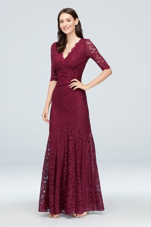 54fe27a8f0f7 V-Neck Ruched Lace Mermaid Gown with 3/4 Sleeves Style 21719, Merlot, 16 |  Rocky and Derek's Wedding | Pinterest