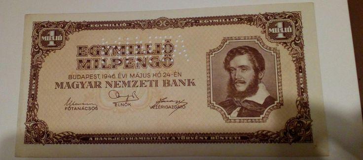 Eladó egy 1946-os 1 Millió Milpengő MINTA perforációval . Tartása: aUNC .