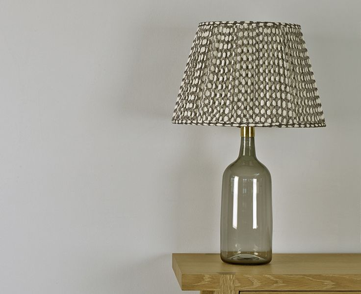 Heaney Glass Lamp Base with Shade in Neutral Wicker.