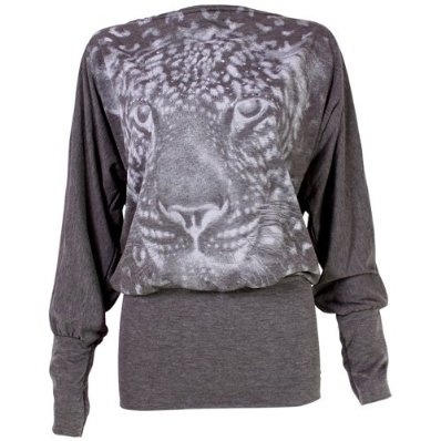 Ladies Batwing Top Long Sleeved Tunic Jumper with Tiger Print - Grey £9.99
