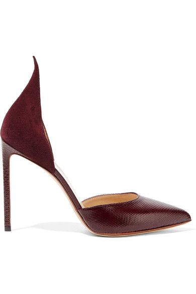 Heel measures approximately 105mm/ 4 inches Merlot suede and snake Slip on Snake: Indonesia Made in Italy