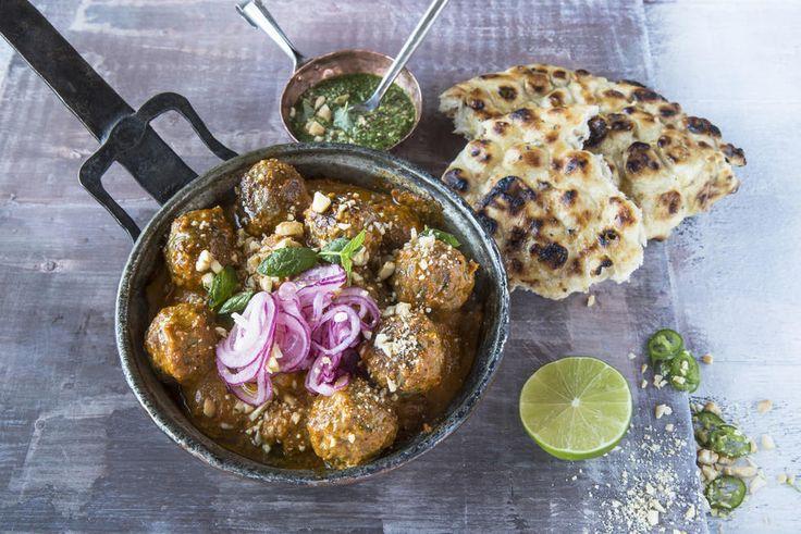 Indiske lammeboller med marinert rødløk