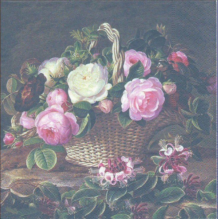 Paquet de 20 Serviettes en papier Roses anglaises Paper Napkins Old England