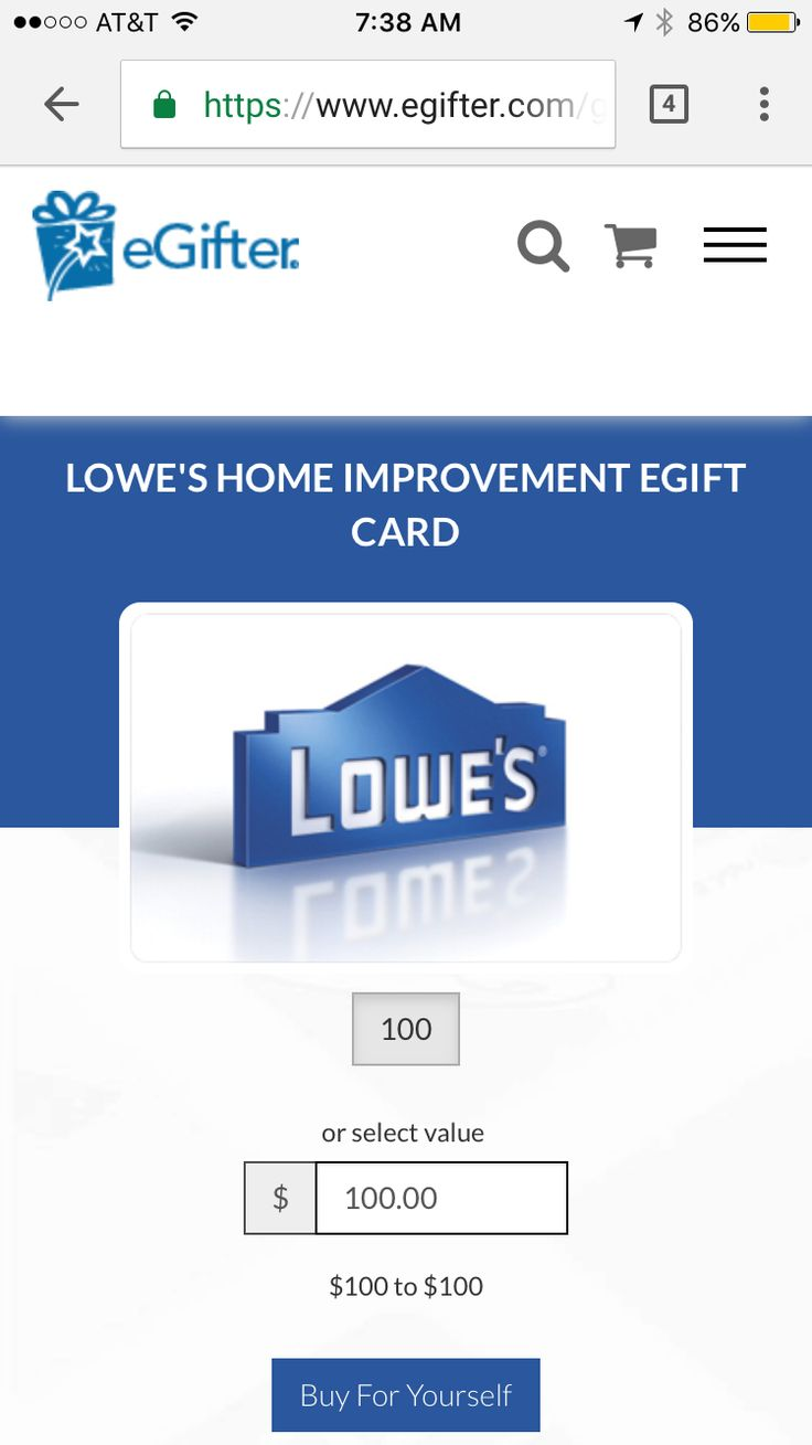 $100 Lowe's eGift Card for $90 from eGifter  Good morning, this is a quick post from my iPhone. eGifter has $100 Lowe's egift cards on sale for $90: https://www.egifter.com/giftcards/lowes-promo You can also use BeFrugal to earn 1% cash back from eGifter.com. Not a BeFrugal member, sign up free today and get a $10...