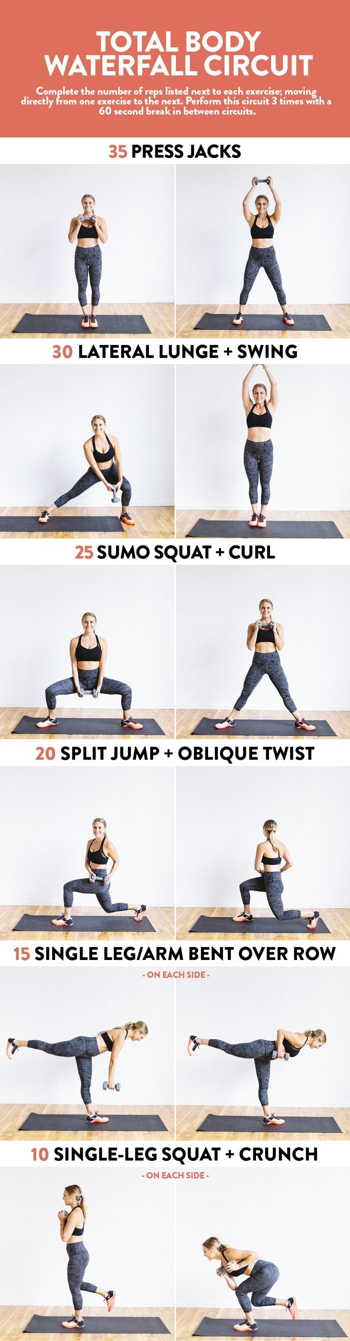 Do this total body waterfall circuit with just 1 dumbbell for a full-body strength workout.
