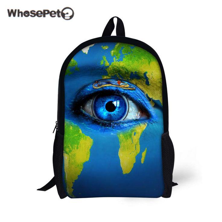 WHOSEPET Eyes Printing School Shoulder Bags Girls Boys Book Bags Casual Women's Backpack Travel Satchel Blue Earth Pattern Bags