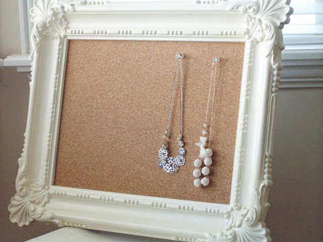 25 Fabulous Handmade Gift Ideas; corkboard behind a frame for jewelry