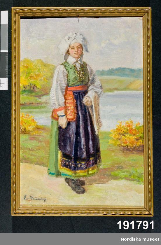Oljemålning: Festdräkt för gift kvinna Östra Göinge.AllmogeKläder : DamkläderKläder : Folkdräkt Emelie von Walterstorff Orginal på N.M