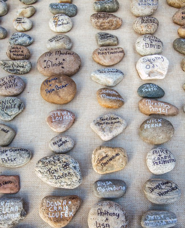 """A fun idea for a beach or woodland wedding guest book - have guests """"autograph"""" pebbles that can be decoratively displayed in your home after the wedding."""