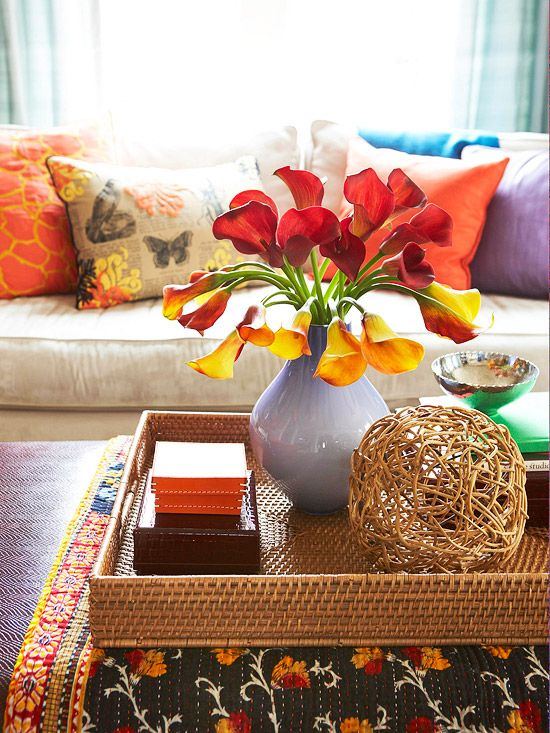 BHG - Coffee Table Chic go-to items for styling a coffee table: a stack of two to four coffee table books, a decorative box (or a smaller pair of boxes, stacked), a decorative object such as a shell or Moroccan star, and a tray. Any three of the four look great (bigger tables can handle more stuff). Add a small bouquet of flowers for extra credit. Voila! Instant chic!: