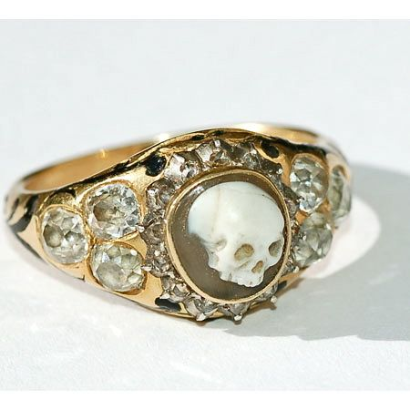 Rose gold and diamond skull ring 1852