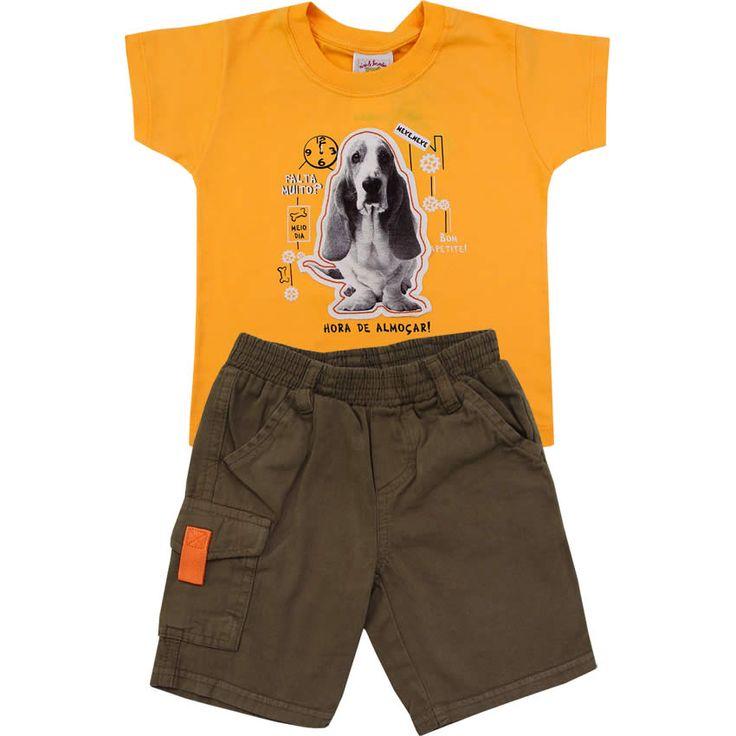 Conjunto Bebê com Bermuda Sarja Menino Amarelo - Nini & Bambini :: 764 Kids | Roupa bebê e infantil