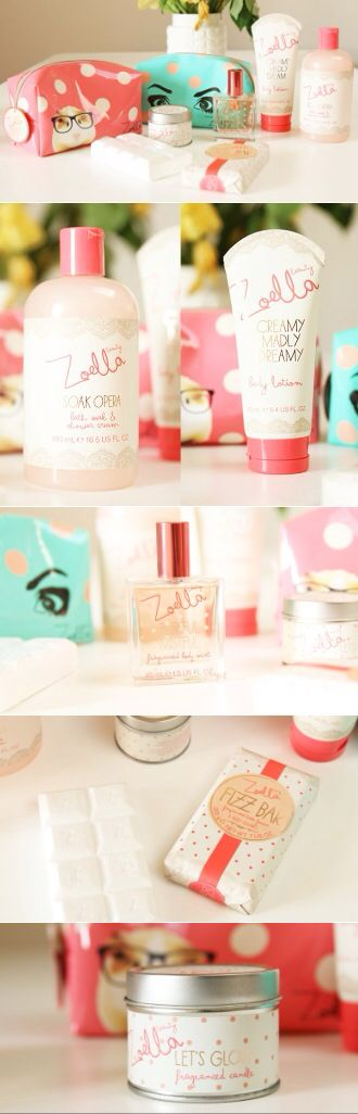 Zoella Beauty Line. Still so proud of her. i want everything but the candle has been discontinued and they don't ship the perfume to the US. wah.
