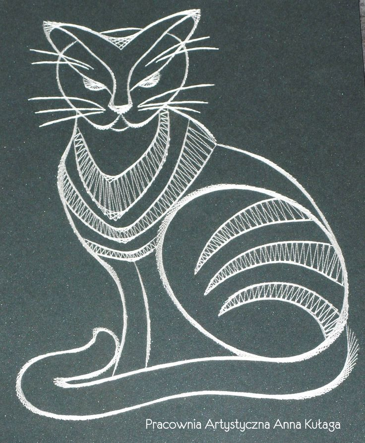 Stiching card cat by Anna Kułaga - base of the bobbin lace pattern.