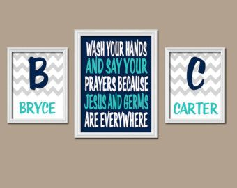 Brother Sister BATHROOM Wall Art, CANVAS or Prints Jesus and Germs Quote Boy Girl Bathroom You Choose Colors Personalized Name Set of 3