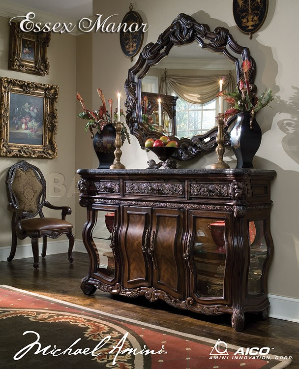 Essex Manor Sideboard With Marble Top And Mirror Dining Room
