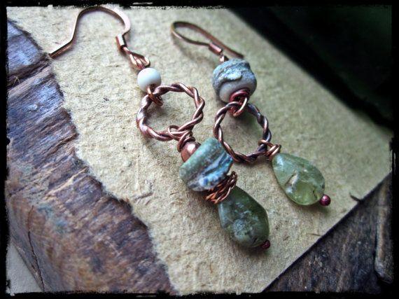 Rustic asymmetric earrings, Handmade lampwork glass Grossular garnet Forged copper hoops - Seaweed