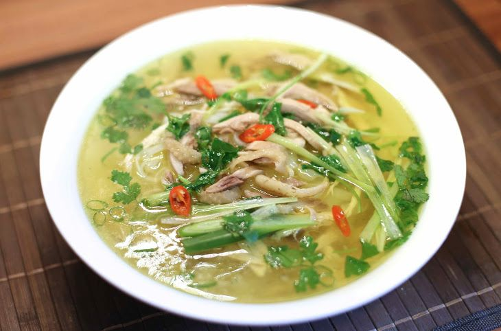 Vietnamese Chicken Noodle Soup – Phở Gà Recipe Soups with chicken, cinnamon sticks, star anise, brown cardamom, onions, shallots, ginger, noodles, cilantro, spring onions, salt, sugar, fish sauce