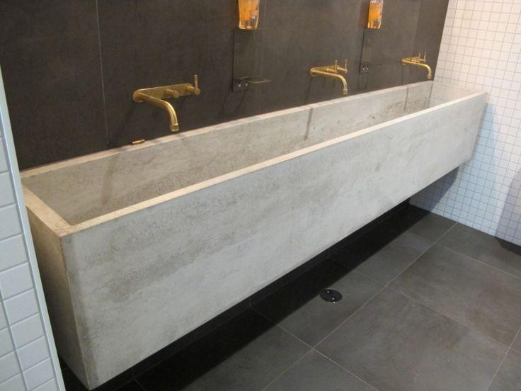 Furniture. Long Gray Concrete Sink With Triple Faucet On The Black Wall.  Wonderful Concrete · Concrete BathroomConcrete SinkBathroom VanitiesTrough  ...