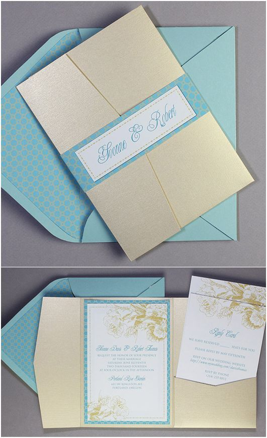 Great template Exclusive Broke-Ass Bride Wedding Printables: Adorable Aqua & Gold Floral Pocketfold Invitations From Download & Print!