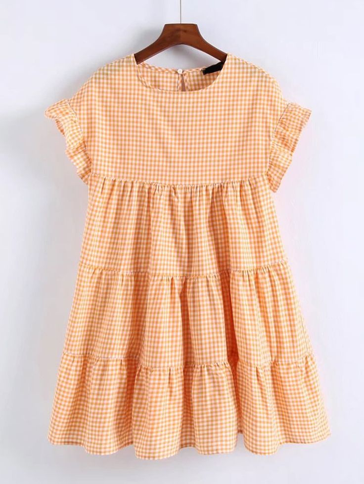 Orange Round Neck Frilled Cap Sleeve Back Hole Gingham Tiered Dress